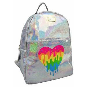 Betsey Johnson Rainbow Heart Holographic Backpack